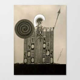 "Art Deco Sepia Illustration ""Athena"" Canvas Print"