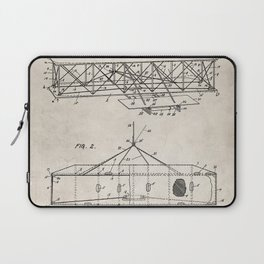 Wright Brother's Airplane Patent - Aviation History Art - Antique Laptop Sleeve