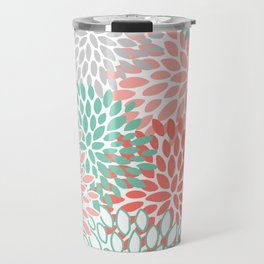 Floral Prints, Coral and Mint Green, Printing Art Travel Mug