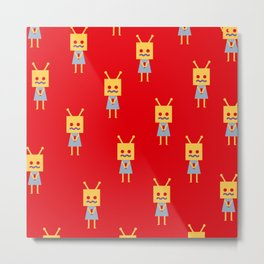 Shy Little Robot (red) Metal Print