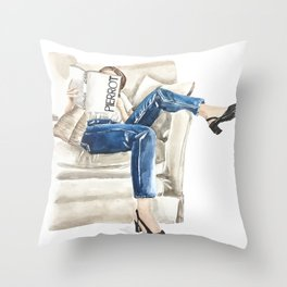 Stylish woman on sofa with ROMANCE book Throw Pillow