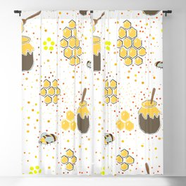 Seamless Pattern with Honey. Scandinavian Style Blackout Curtain