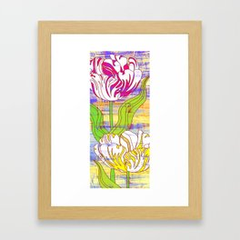 Colorful flower pattern, tulips print Framed Art Print