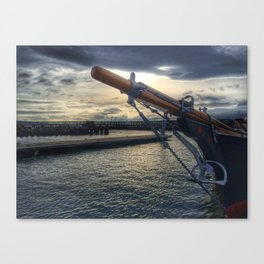 Boat at the Dock at Sunset Canvas Print