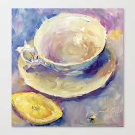 A Twist of Lemon Teacup Coffee Cup Canvas Print