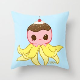 Strawberry Banana Split Octopus Throw Pillow