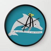 zissou Wall Clocks featuring Zissou Dolphin by SleepyMountain