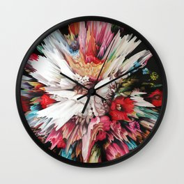 Floral Glitch II Wall Clock
