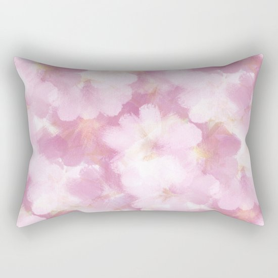 Painted Flowers Abstract Rectangular Pillow