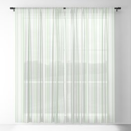 Trendy Large Spearmint Mint Pastel Green French Mattress Ticking Double Stripes Sheer Curtain