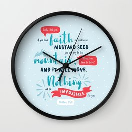 """""""Nothing Will Be Impossible"""" Hand-Lettered Bible Verse Wall Clock"""