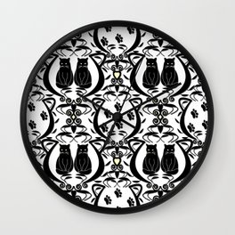 Midnight Cat Does Damask  Wall Clock