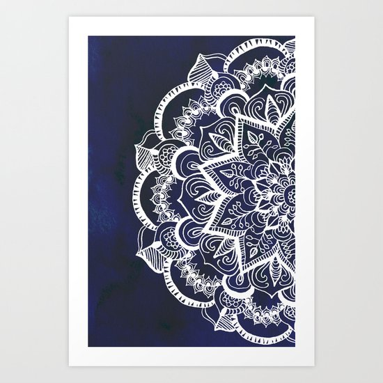White Feather Mandala On Navy Art Print By Tangerine Tane