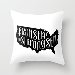 From Sea to Shining Sea US Map Throw Pillow