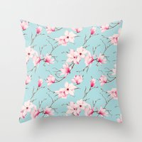 magnolia Throw Pillows featuring Magnolia by EclipseLio