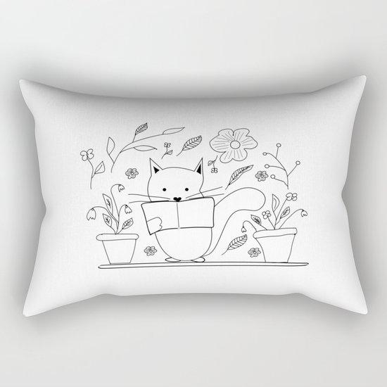 Cat between the flowers Rectangular Pillow
