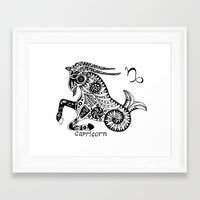 capricorn Framed Art Prints featuring Capricorn by Anna Shell