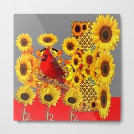 MODERN ABSTRACT RED CARDINAL YELLOW SUNFLOWERS GREY ART Metal Print