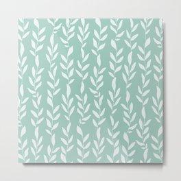 Green Minimal Plants Pattern Metal Print