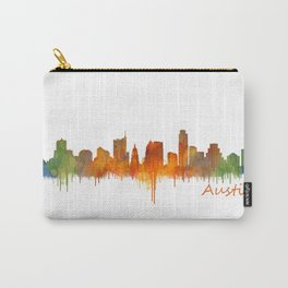 Austin Texas, City Skyline, watercolor  Cityscape Hq v2 Carry-All Pouch