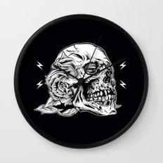 Skull Flower Art Print Wall Clock