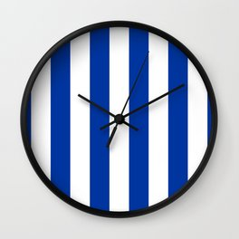 Dark Princess Blue and White Wide Vertical Cabana Tent Stripe Wall Clock