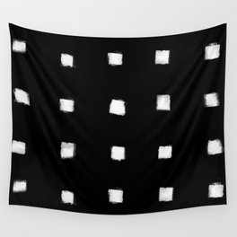 Polka Strokes Gapped - Off White on Black Wall Tapestry