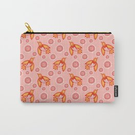 Pretty orange swallows birds, dusty pink blooming roses seamless vintage pattern design. Carry-All Pouch