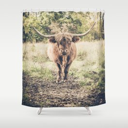Highland scottish cow cattle long horn Shower Curtain