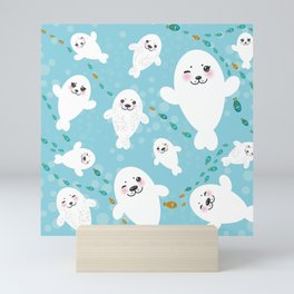Funny albino white fur seal pups, cute kawaii seals Mini Art Print