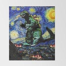 Godzilla versus Starry Night Throw Blanket