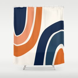 Abstract Shapes 35 in Burnt Orange and Navy Blue Shower Curtain
