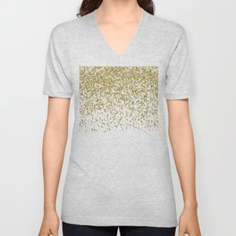 Sparkling gold glitter confetti on simple white background - Pattern Unisex V-Neck