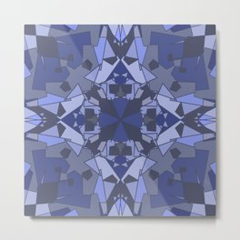 Chaos Patchwork - Shades of Blue Metal Print
