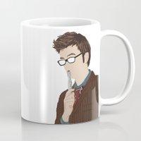 david tennant Mugs featuring Doctor Who David Tennant by  Steve Wade ( Swade)