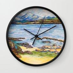 seascape by mountains Wall Clock