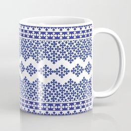 Vintage geometric blue ad white motif pattern Coffee Mug