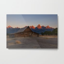 Moulton Barn - Sunrise in Grand Tetons Metal Print