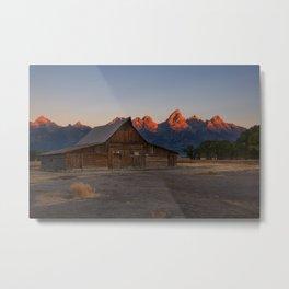 Moulton Barn - Sunrise in Grand Tetons Metal Print