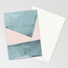 Turquoise and pink abstract divide Stationery Cards