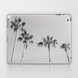 Black Palms // Monotone Gray Beach Photography Vintage Palm Tree Surfer Vibes Home Decor Laptop & iPad Skin
