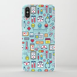 Proud To Be a Nurse Pattern / Blue iPhone Case