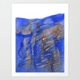 Blue & Brown Abstract Landscape - Cliff Face Art Print