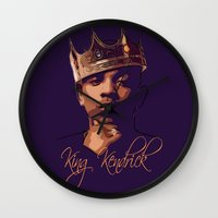 kendrick lamar Wall Clocks featuring King Kendrick by GerritakaJey