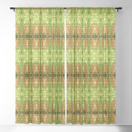 Heliconia Red Claws Pattern Sheer Curtain