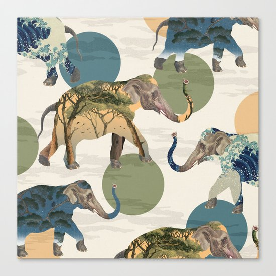 Elephant Polka Canvas Print
