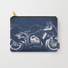 23-2013 Suzuki GSX-R1000 BLUE, Motorcycle blueprint Carry-All Pouch