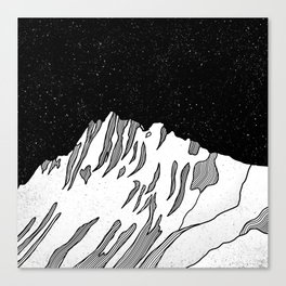 Puncak Jaya Mountain Black and White Canvas Print