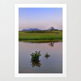 Serenity sunset at the lagoon. Spring dreams Art Print