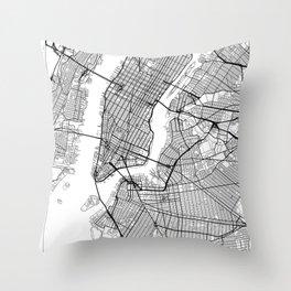 New York Map White Throw Pillow